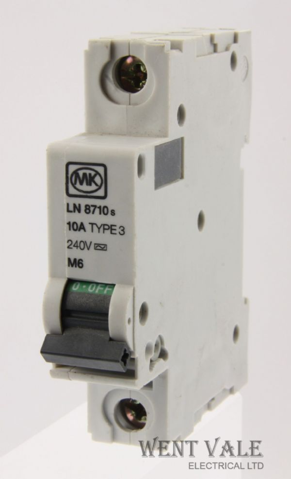 MK Sentry LN8710s - 10a Type 3 Single Pole MCB Used
